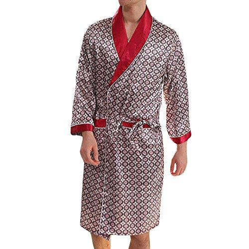 - MAGE MALE Men's Summer Luxurious Kimono Soft Satin Robe with Shorts Nightgown Long-Sleeve Pajamas Printed Bathrobes