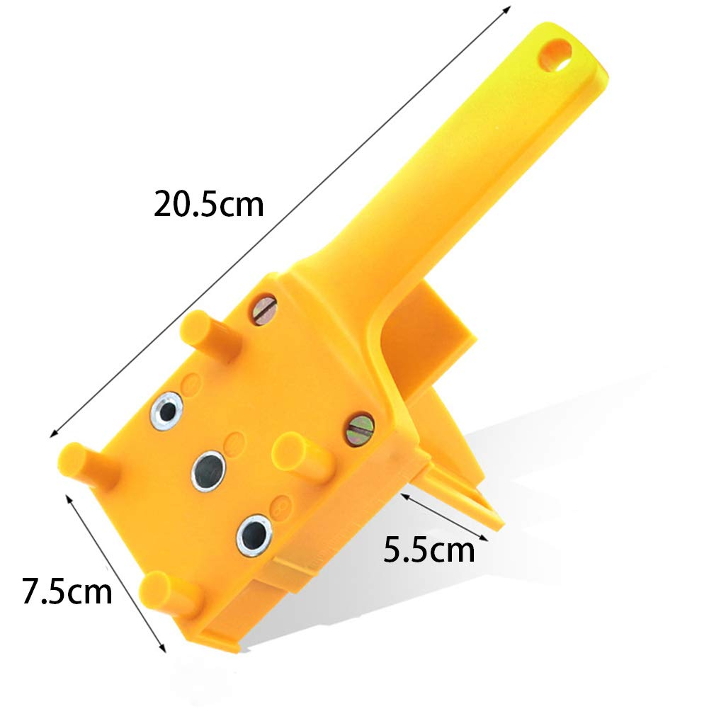 Poign/ées de travail en bois en plastique trou de poche gabarit goujon goujon localisateur de forage trou de poche gabarit charpentiers outil commun outil de guide professionnel jaune
