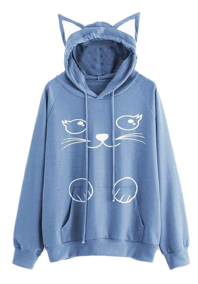 TD-CACA Women's Cute Cat Ear Pullover Kangaroo Pockets Hooded Sweatshirts