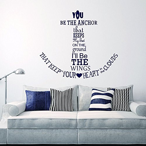Wall Decal Decor Nautical Anchor Wall Decal Quote - You Be The Anchor That Keeps My Feet On The Ground - Vinyl Stickers Wall Lettering(navy blue, 22h x25w)