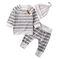 Baby Clothing Sets 2017 Autumn Newborn Boys Girls Clothes Infant Striped Tops T-shirt Pants Leggings Outfits Set