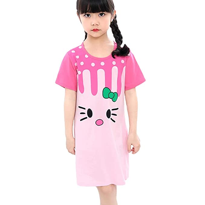 Nachthemden f/ür M/ädchen Gestreifter Nachthemd Kinder Langarm Baumwolle Schlafanzug Pyjama f/ür 3-10 Jahre