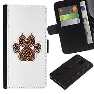 All Phone Most Case / Oferta Especial Cáscara Funda de cuero Monedero Cubierta de proteccion Caso / Wallet Case for Samsung Galaxy S5 Mini, SM-G800 // Bear Claw Brown White Pattern Heart