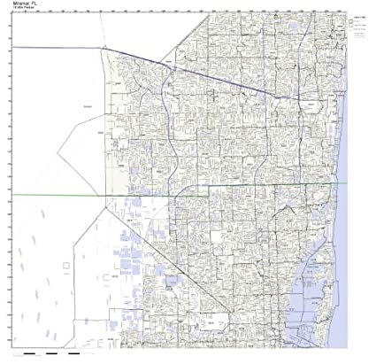 Miramar Florida Map.Amazon Com Miramar Fl Zip Code Map Not Laminated Home Kitchen