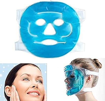 Denshine - Máscara de hielo facial frío para cara congelable, reutilizable, para cara hinchada, ojos esponjosos, círculos oscuros, dolor de cabeza, migraña, alivio del sinus: Amazon.es: Belleza