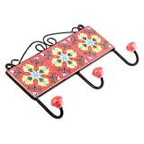 IndianShelf Handmade 1 Piece Ceramic Red Turquoise Flower Ceramic Tiles Artistic Rust Free Wall Hooks/Cloth Coats Hangers/Keys Holders