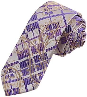 DAE7B.06 Mens Paisley Microfiber Skinny Tie Elegant For Dad By Dan Smith
