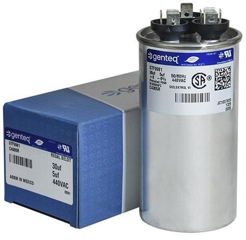 Trane CPT00659 / CPT-0659 - 30 + 5 uF MFD x 440 VAC Genteq Replacement Dual Capacitor Round # C4305R / 97F9981 (440v Capacitor)
