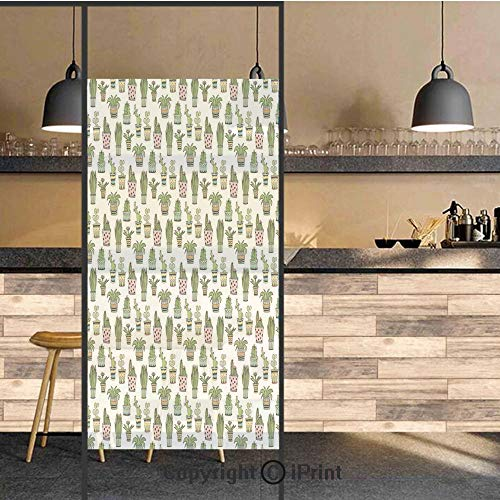 (3D Decorative Privacy Window Films,Colorful Pretty Succulent Houseplants and Cactus Pattern Doodle Flowers Pots Decorative,No-Glue Self Static Cling Glass film for Home Bedroom Bathroom Kitchen Office)