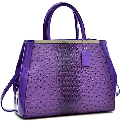 New 2018 Women Handbag Structured Ostrich Faux Leather Satchel Medium Purse Designer Bag (Purple) (Ostrich Purple Leather)
