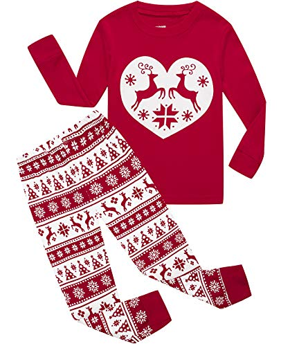 Girls Pajamas 100% Cotton Reindeer Toddler Clothes Kids Christmas Pjs Children Sleepwear Size 4 -
