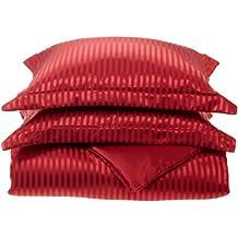 Divatex Home Fashions Royal Opulence Woven Satin Stripe Full/Queen Duvet Mini Set, Red