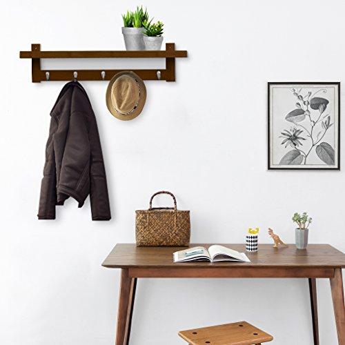 LANGRIA Coat Rack Shelf, Coat Rack Wall-Mounted Bamboo Wooden Hook Rack with 5 Metal Hooks and Upper Shelf for Storage Scandinavian Style for Hallway Bathroom Living Room Bedroom, Bamboo Brown Color by LANGRIA (Image #2)