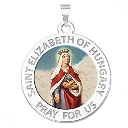 Saint Elizabeth of Hungary Round Religious Color Medal - 3/4 Inch Size of a Nickel -Sterling Silver