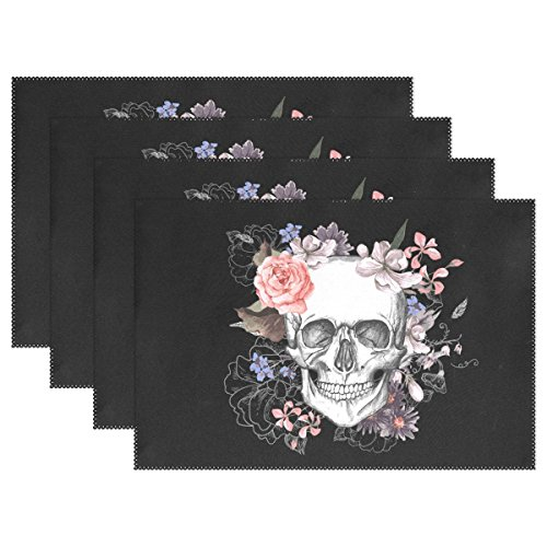 WOZO Pink Floral Sugar Skull Placemat Table Mat, Day of the Dead 12″ x 18″ Polyester Table Place Mat for Kitchen Dining Room Set of 4