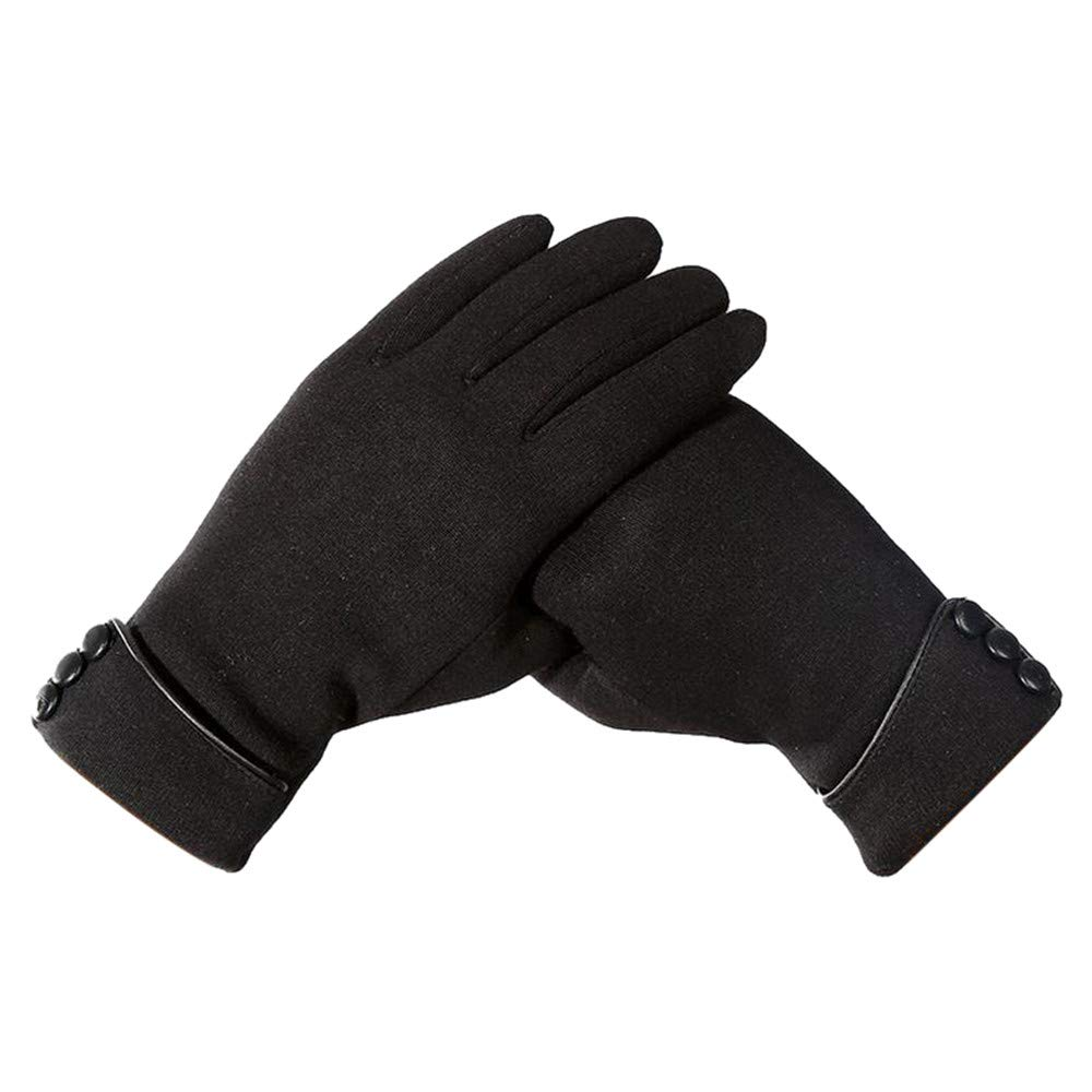 Lanhui Women's Casual Winter Gloves Outdoor Sports Riding Gloves Warm Windproof Mittens (Free Size, Black)