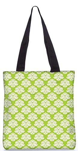 """Snoogg Abstrakte Weiße Grüne Muster-Einkaufstasche 13,5 X 15 In """"Shopping-Dienstprogramm Tragetasche Aus Polyester Canvas"""