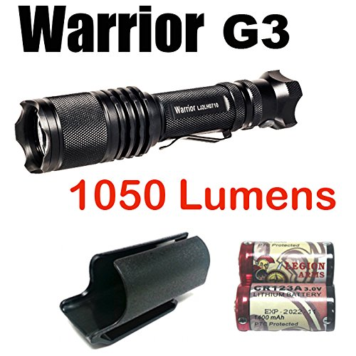 PowerTac Warrior Gen 3 1050 Lumens LED (CREE XM-L2 U2) Tactical Flashlight with Clip-On hard shell Holster and LegionArms CR123A Batteries