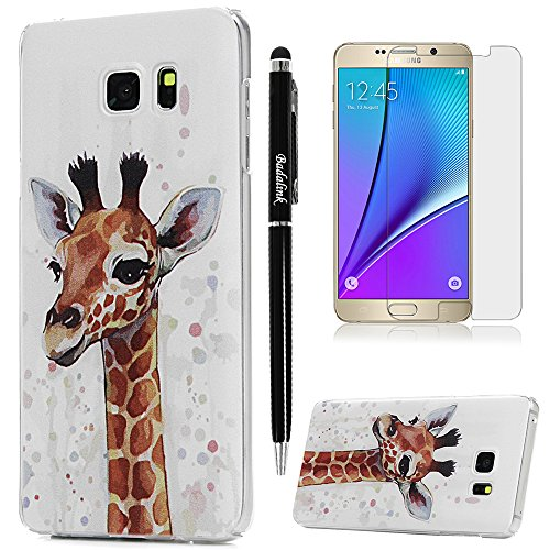 Badalink Note 5 Case, with Screen Protector & Stylus Hard PC Cover [No Color Fade] Premium Art Painting Bumper Shockproof Smooth Shell Skin Impact Resistant Case for Samsung Galaxy Note 5 - Giraffe - Giraffe Note