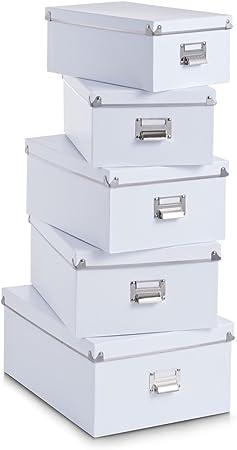 Zeller 17951 - Juego de Cajas de cartón para almacenaje (5 Unidades; 40 x 29 x 17 cm; 38 x 27,3 x 15,5 cm; 35,5 x 24,5 x 14,5 cm; 33,5 x 22,5 x 13,5 cm; 30,5 x 19,7 x 12,5 cm), Color Blanco: Amazon.es: Hogar