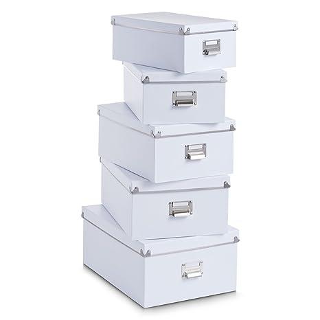 Zeller 17951 - Juego de Cajas de cartón para almacenaje (5 Unidades; 40 x 29 x 17 cm; 38 x 27,3 x 15,5 cm; 35,5 x 24,5 x 14,5 cm; 33,5 x 22,5 x 13,5 ...