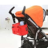 Multifunctional Stroller Organizer Bag Baby Carriage Storage Bags Holder Pockets Velcro Lightweight Universal Fit for Diapers, Feeding Bottle, Water Bottle, Wallet, Toy, Baby Clothes, Tissue, Baby Stuffs RED