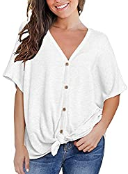 Miholl Women S Casual Tops Short Sleeve V Neck Button Down Loose Blouse Shirts Small White