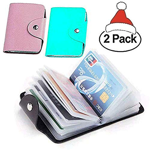 K Y KANGYUN Christmas Gift 48 Pcs Transparent Plastic Vertical ID Credit Card Holder Protector Sleeve for Women's and girl Mini Unisex 2pack(Pink&Blue) K Y -