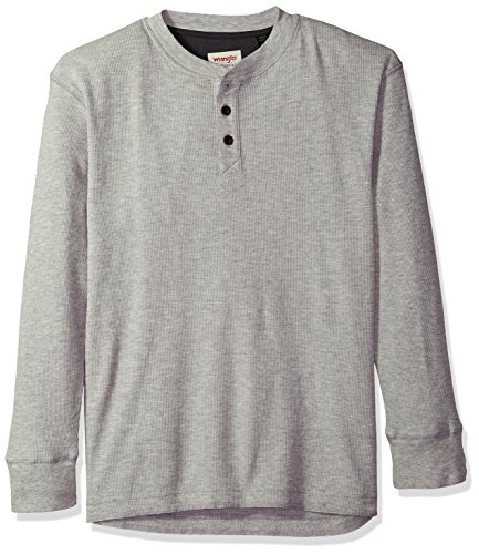 Wrangler Authentics Men's Long Sleeve Waffle Henley, Light Heather Gray, L