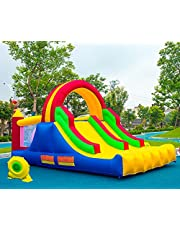 HuaKastro 16x7.2FT Inflatable Bounce House with 2 Racing Slides & Large Climbing Wall, 3 in 1 Kids Inflatable Trampoline Rainbow Jumping Castle Kids Backyard Playgrounds - with Air Blower