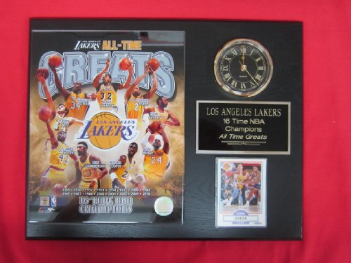 Los Angeles Lakers All Time Greats Collectors Clock Plaque w/8x10 Photo and Card