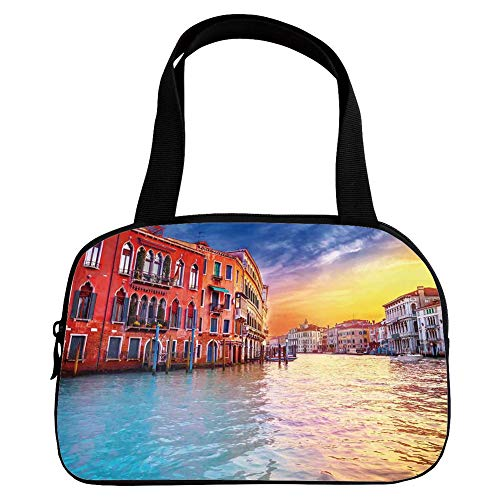 Polychromatic Optional Small Handbag Pink,Italian Decor,European Magical Venice Canal with Historical Buildings Famous Town Scenery,Blue Orange,for Girls,Print Design.6.3