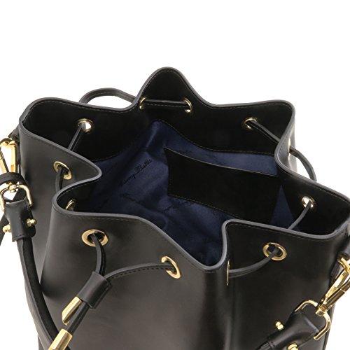 81415314 - TUSCANY LEATHER: VITTORIA - Sac secchiello pour femme en cuir Ruga, Noir