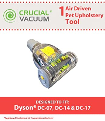 1 Dyson DC07 DC14 DC17 Air Driven Pet Upholstery Turbo Brush Tool Attachment Designed To Fit All 32mm Fitting Vacuums Including Dyson DC07, DC14, DC17 Vacuums, Designed & Engineered By Crucial Vacuum