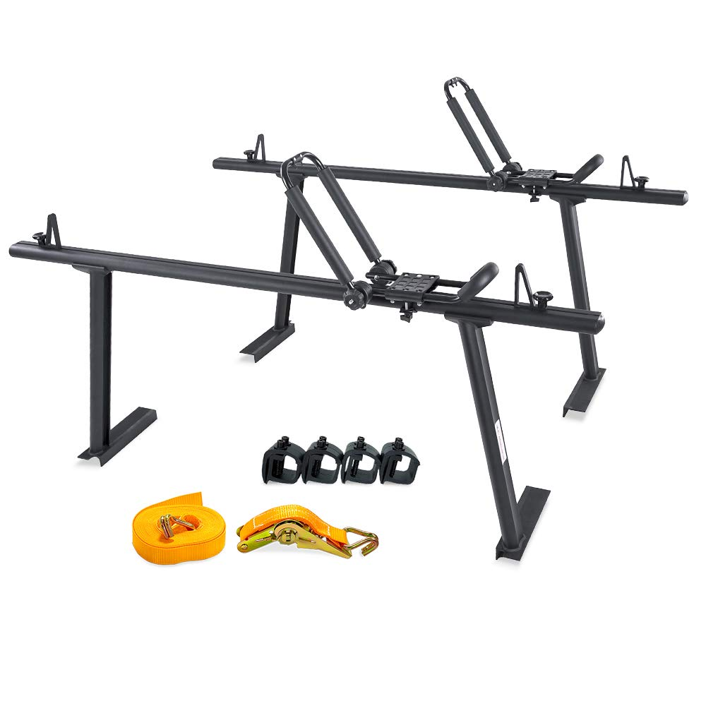 AA Products Model APX25 Aluminum Truck Rack with with 8 Non-Drilling C-Clamps and Folding Kayak J-Racks with Ratchet Lashing Straps