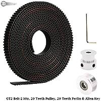 3DInnovations 2 Meters GT2 6mm Open Timing Belt + 1 Pcs 20 Teeth Gt2 Timing Pulley 5mm Bore+ 1 Pcs 20 Teeth Gt2 Driven/Perlin Pulley 5mm Bore + Allen Key