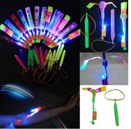 Happyi 8pcs Amazing Led Light Arrow Rocket Helicopter Flying Toy Party Fun Gift Elastic Fun Helicopter