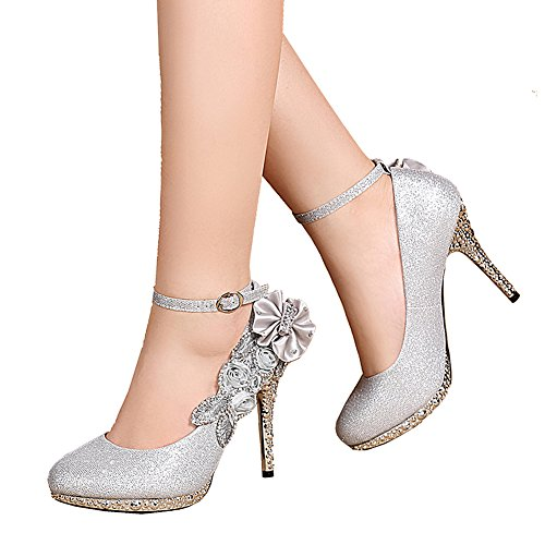 Sequin High Heel Shoes - getmorebeauty Women's Glitter Silver Lace Flower Sequins Strappy Closed Toes Dress Wedding Shoes 10 B(M) US