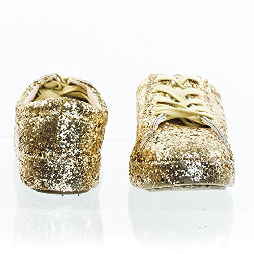 Glitter Fashion Lace Up Sneaker w Covered Platform & Metallic Upper Gold 5nzSdu8