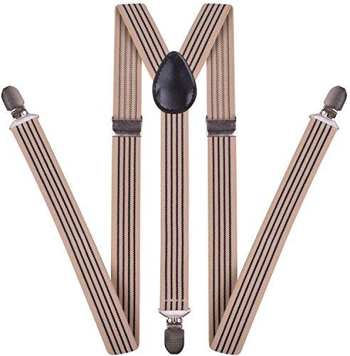 Suspenders for Men Adjustable Suspender Women Y Back Strong Clips Leather Braces