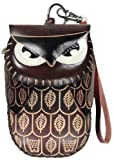 LittleKapsWorld Dark Mahogany Brown Owl – Leather Handmade Craft Animal Wristlet Coin Change Purse Cell Phone Pouch, Bags Central