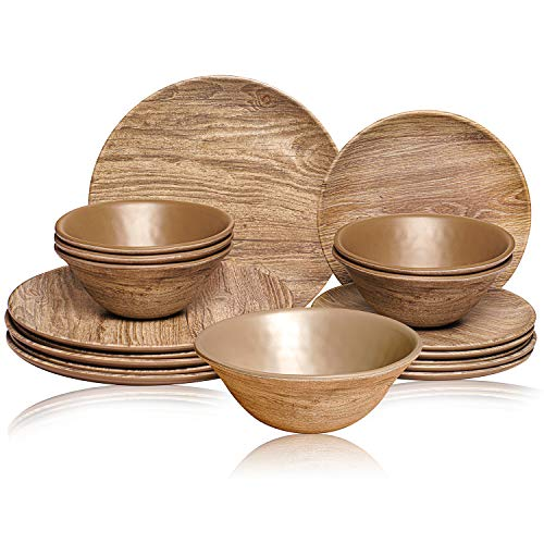 TP Melamine Dinnerware Set, 18-Piece Rustic Dishes Set, Dinner Service for 6 with Bowls and Salad Dinner Plates, Wood…