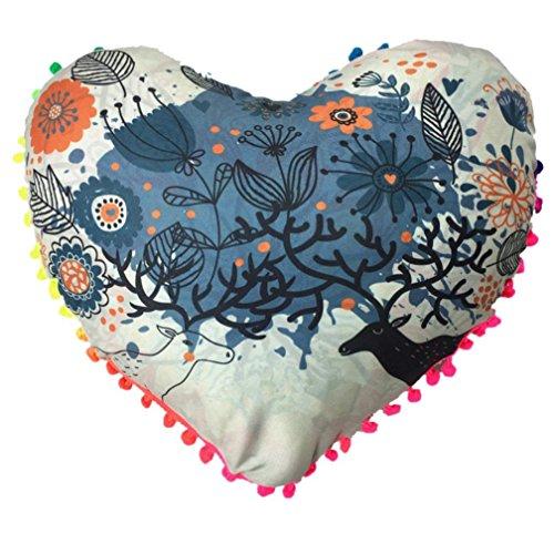 HITRAS Christmas 1PC Multicolor Heart Shaped Home Cushion Pillows Cover Case (Diameter 4335cm, C) (Velvet Microfiber Bed Bolster)
