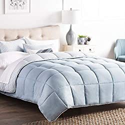 Brookside Striped Chambray Comforter Set - Includes 2 Pillow Shams - Reversible - Down Alternative - Hypoallergenic - All Season - Box Stitched Design - Full - Calm Sea Blue