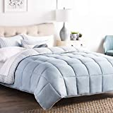 Extra Large King Size Comforter Sets Brookside Striped Chambray Comforter Set - Includes 2 Pillow Shams - Reversible - Down Alternative - Hypoallergenic - All Season - Box Stitched Design - King - Calm Sea Blue