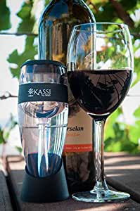 "KASSI Wine Aerator Decanter ""SIP ME BABY ONE MORE TIME"" Instantly Aerated Wine w/Filter, Silicon Drip-Catcher Stand, Travel Pouch, All in a Designer Box w/ Bonus Foil Cutter & eBook! WINE NOT?"
