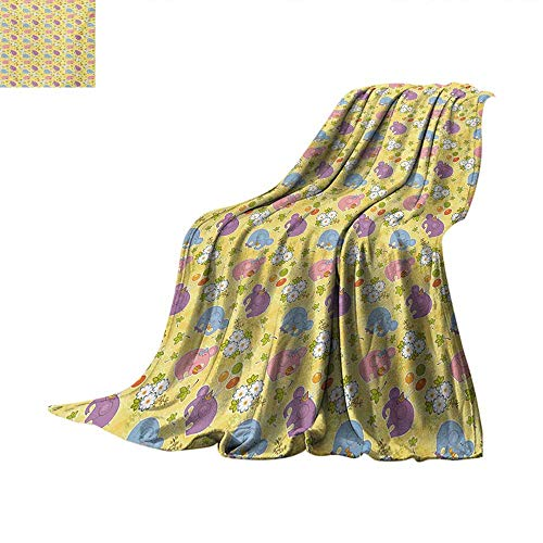 Elephant Weave Pattern Blanket Blossoming Cartoon Flowers and Animal Mascots Balloons Bow Ties Playful Clip Art Summer Quilt Comforter 80
