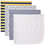 Gerber Baby Boys' 4 Pack Flannel Blankets