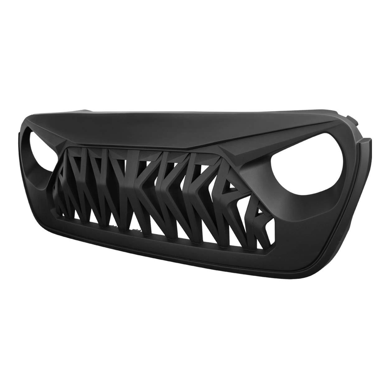 Allinoneparts White /& Black Front Shark Grille for 2018-2019 JL JLU Jeep Wrangler Rubicon Sahara Sport ABS