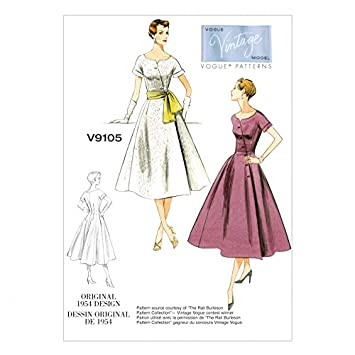 Vogue Damen Schnittmuster 9105 Original 1954 Vintage Kleid Design + ...